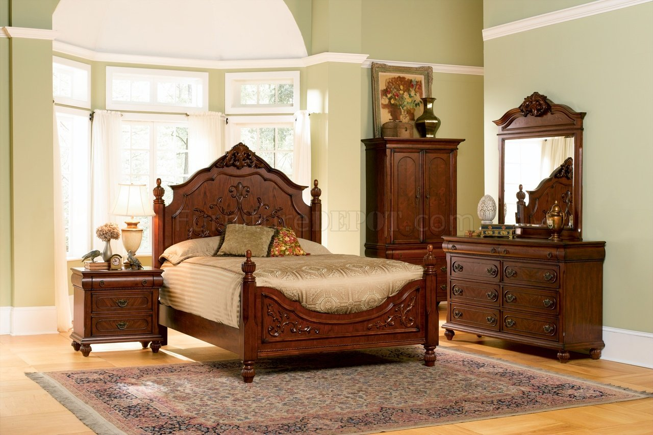 - Cherry Finish Classic Antique Style Bedroom With Carving Details