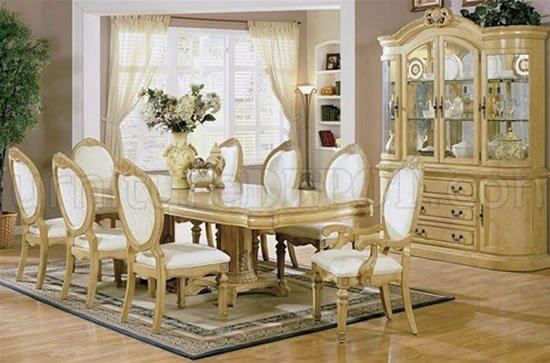 Antique White Finish Stylish Dining Room Set with Carved ...
