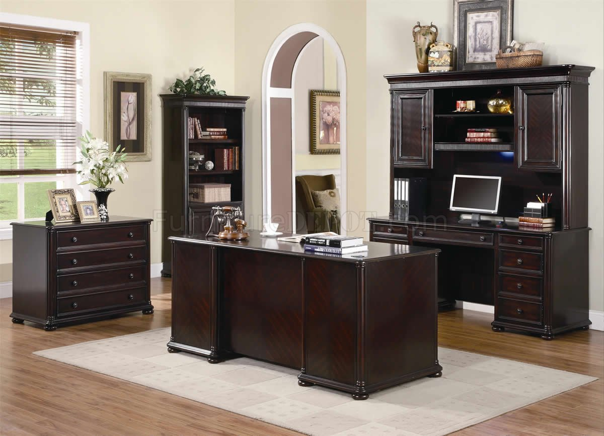 Office Furniture: Rich Dark Brown Finish Classic Office Desk W/Optional Items