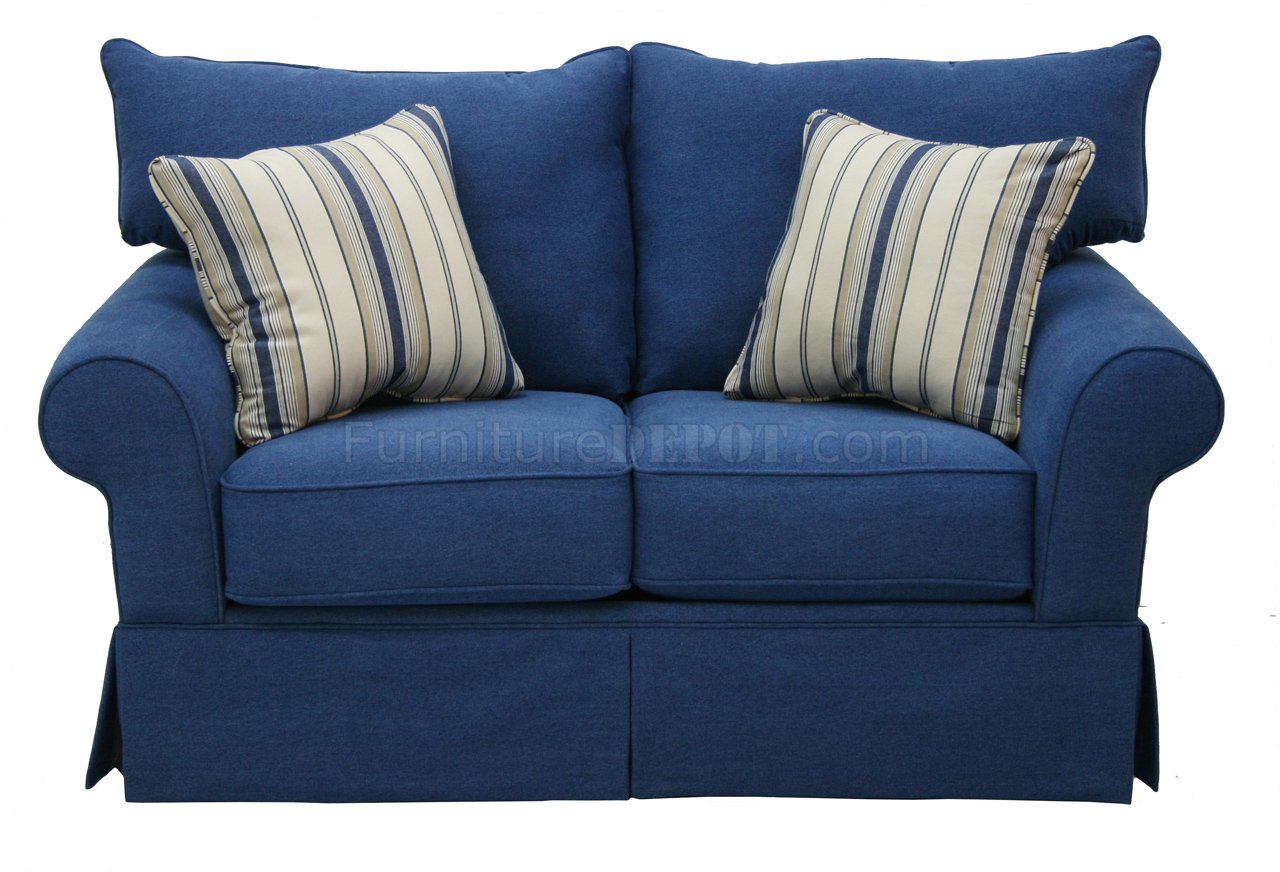Blue denim fabric modern sofa loveseat set w options Denim loveseat
