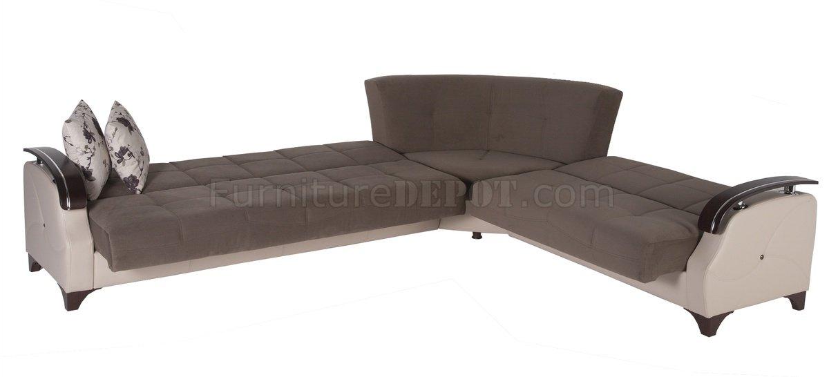 Trento Selen Brown Sectional Sofa Bed