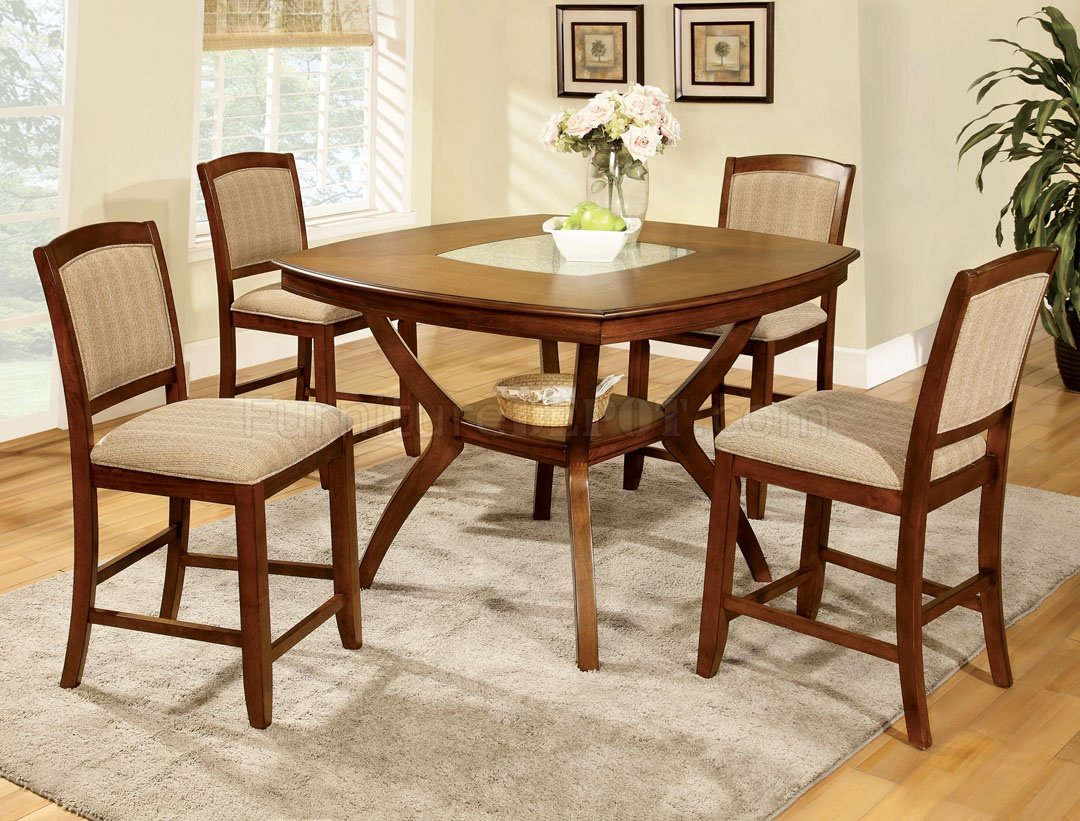 Cm3026pt Redding Ii 5pc Counter Height Dining Set In Oak
