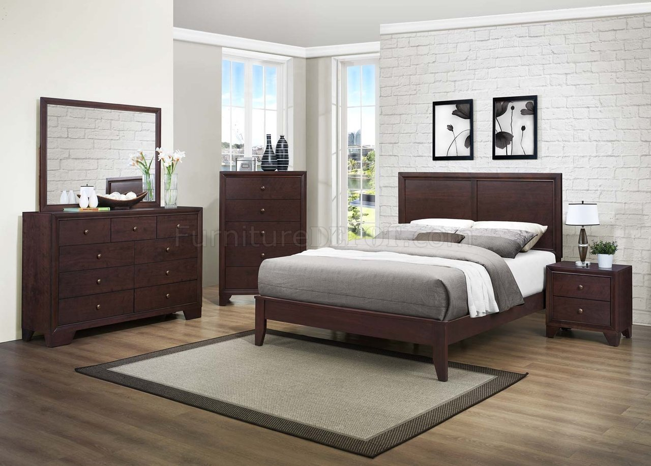 Kari Bedroom Set 2146 by Homelegance in Brown Cherry w/Options