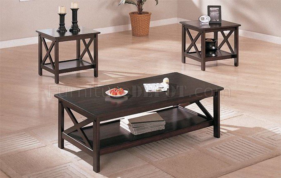Dark espresso finish contemporary 3 piece coffee table set 3 set coffee tables