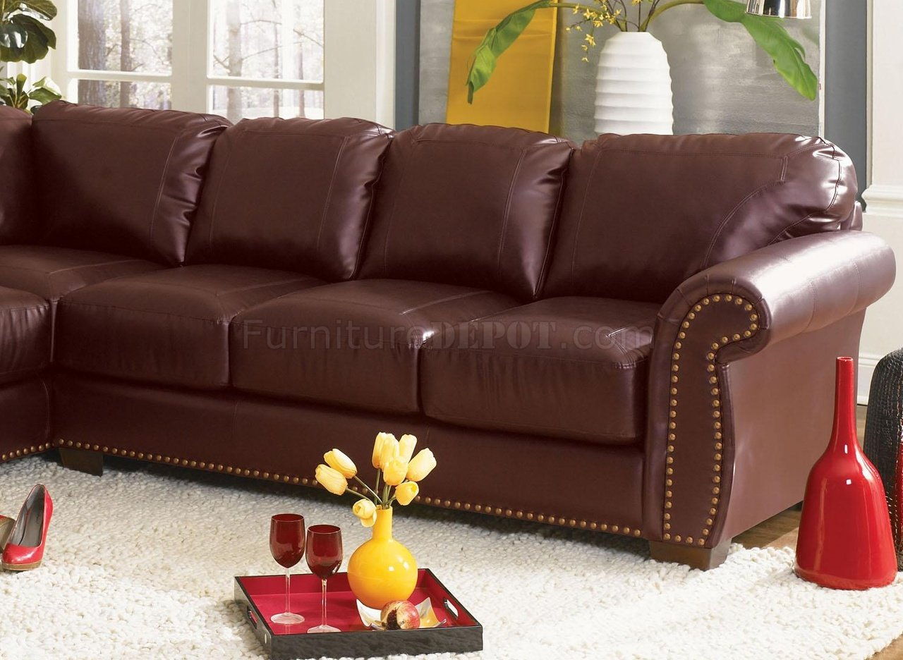 Etonnant Burgundy Or Black Bonded Leather Classic Sectional Sofa
