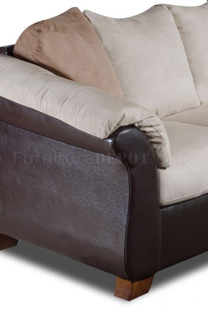 Combo Microfiber Sofa Amp Loveseat Set W Dark Bonded Leather