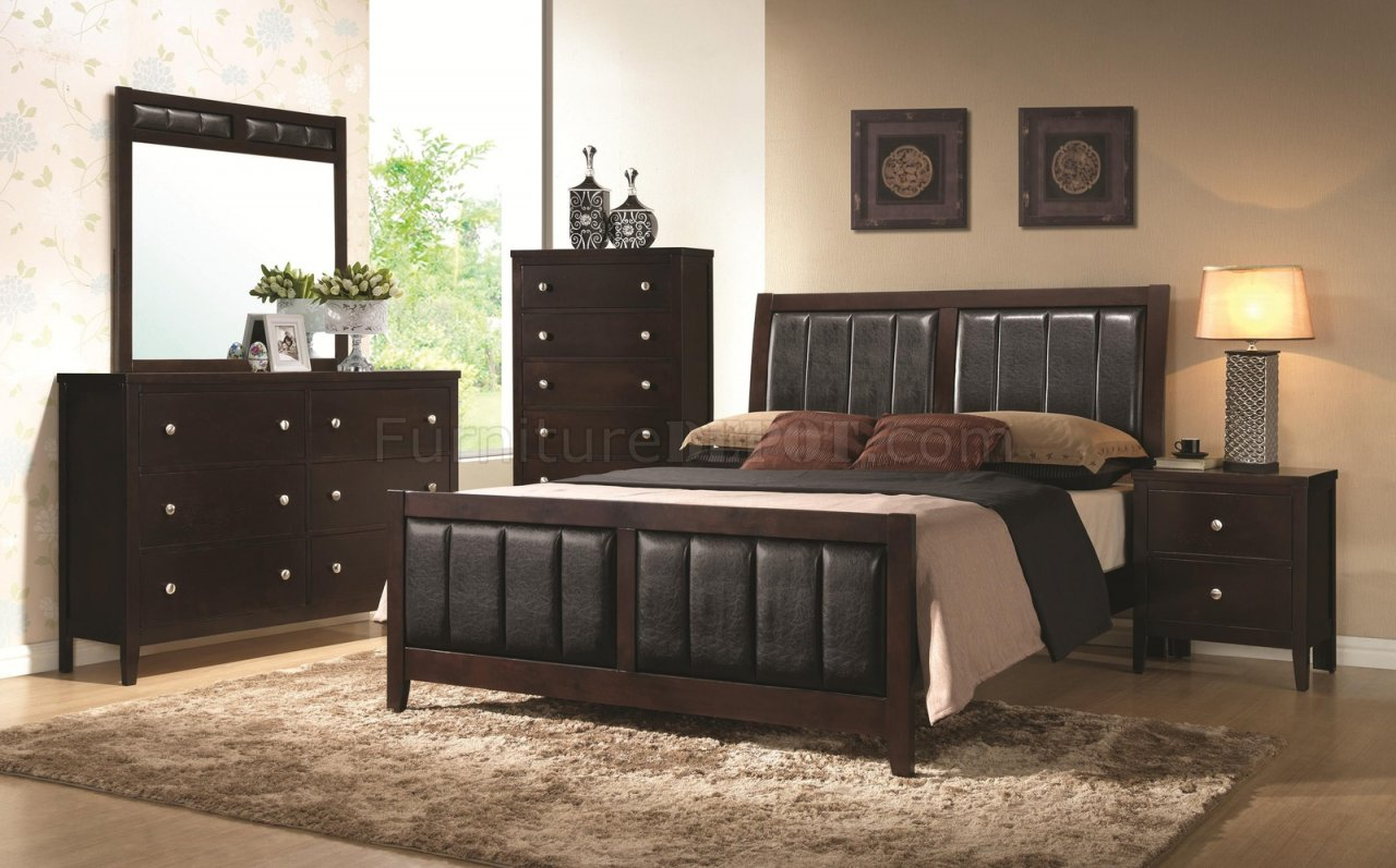 Carlton 202091 5pc Bedroom Set Cappuccino By Coaster W Options