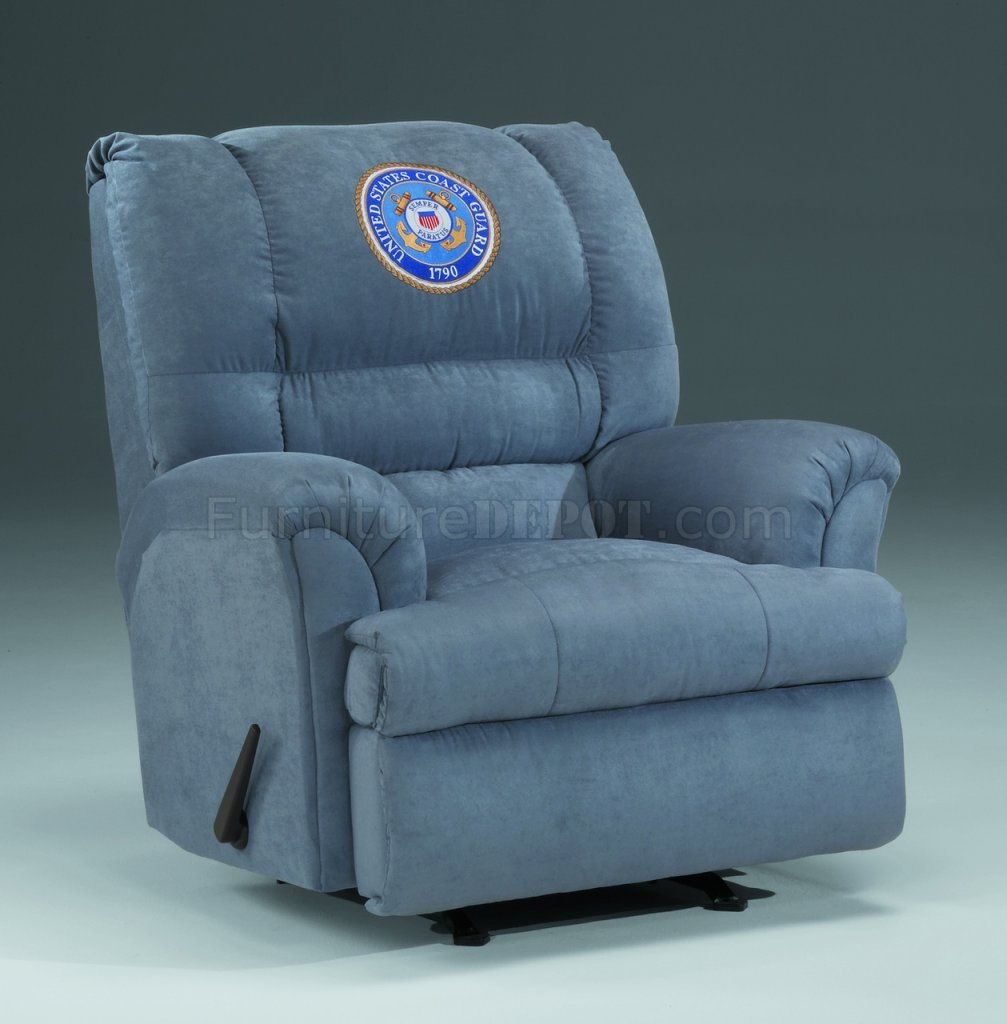 Slate Fabric Modern Rocker Recliner W Us Coast Guard Emblem