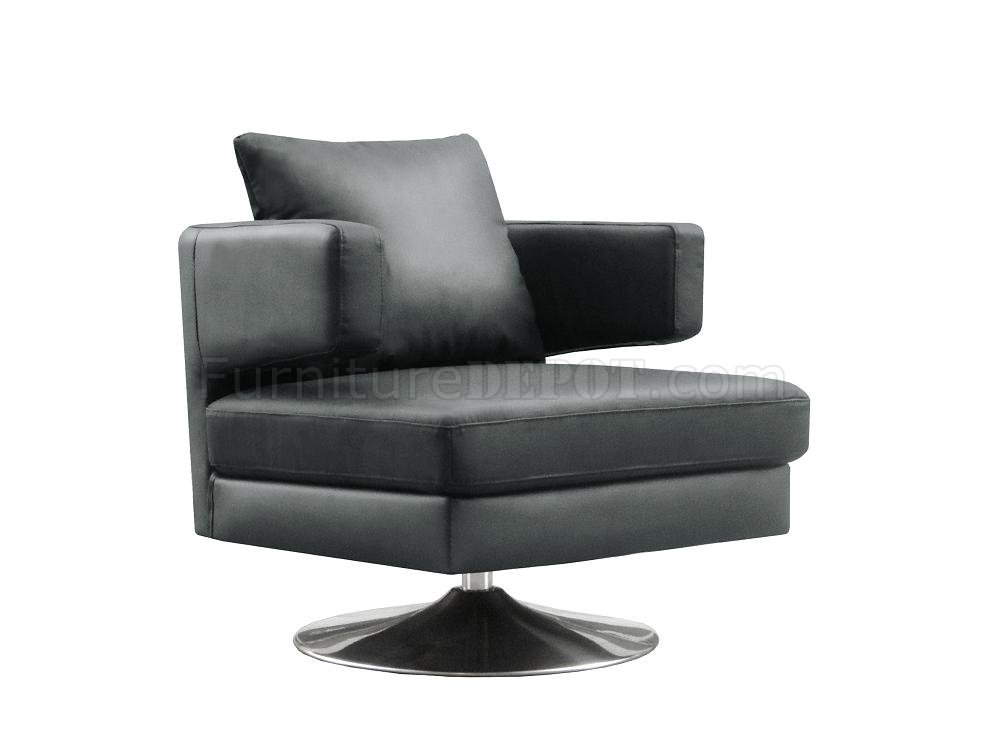 Black white or chocolate leather modern swivel club chair for Modern leather club chair