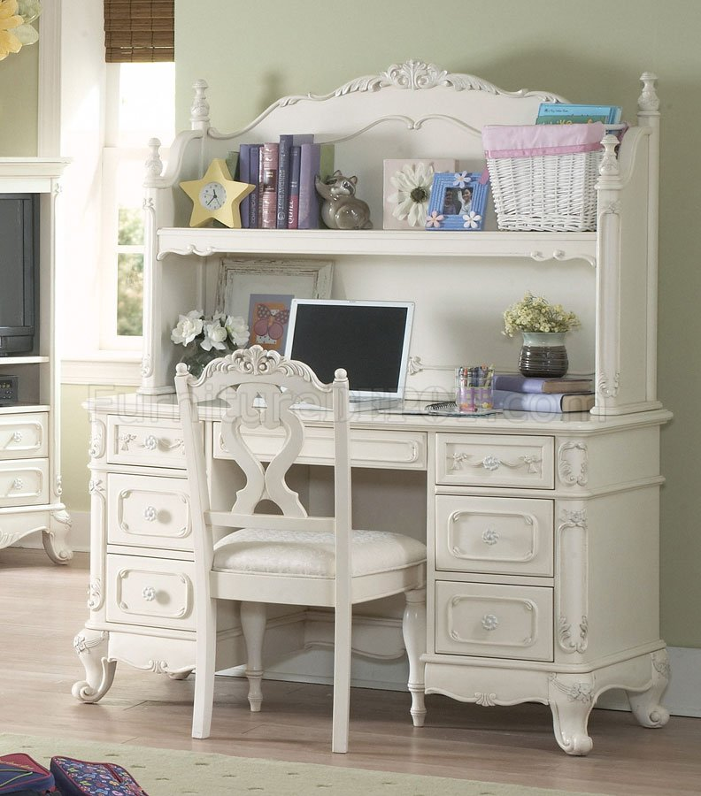 Cinderella 1386 Writing Desk In Off White W Hutch By