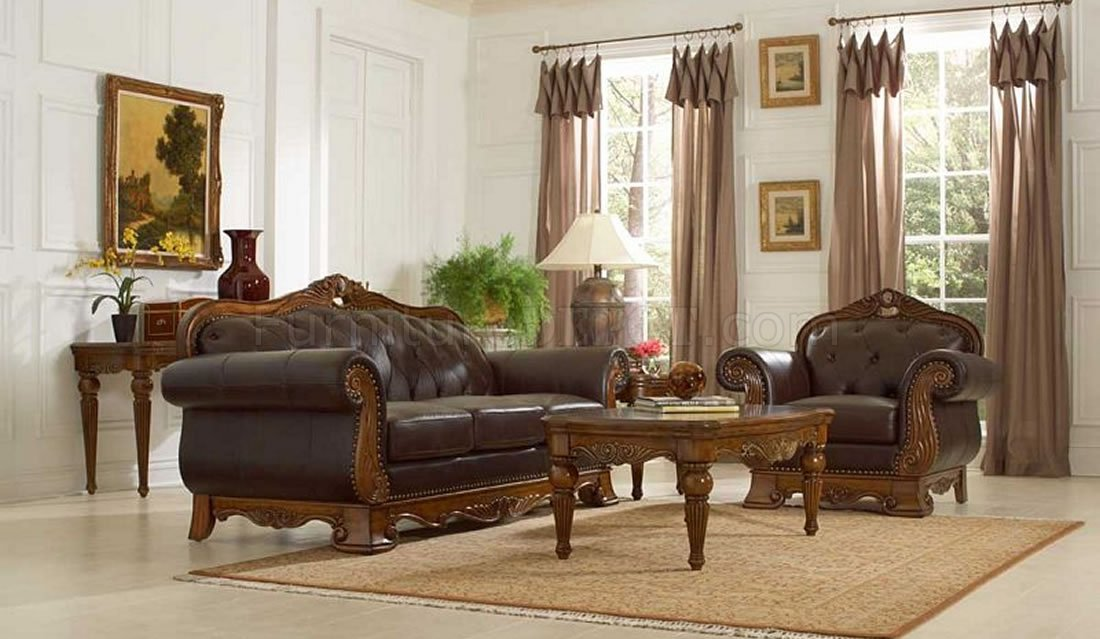 Brown Full Leather Classic Living Room Sofa U0026 Loveseat Set Part 21