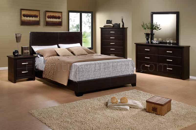 Brown finish modern 5pc bedroom set w vinyl queen size bed for Queen size bedroom sets with mattress