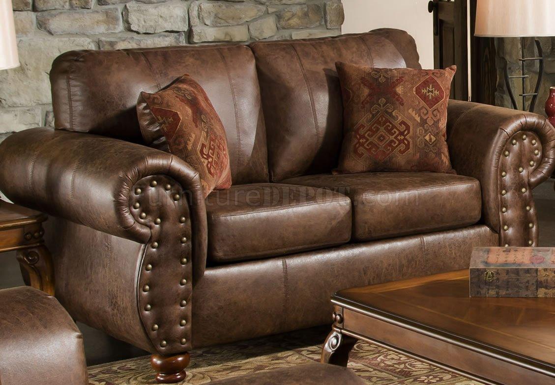 Brown Smokey Leather Like Microfiber Classic Sofa