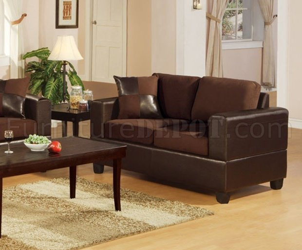 F7591 chocolote microfiber living room set by poundex - Microfiber living room furniture sets ...