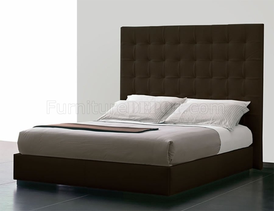 Brown Tufted Leatherette Ludlow Queen Bed W Oversized Headboard