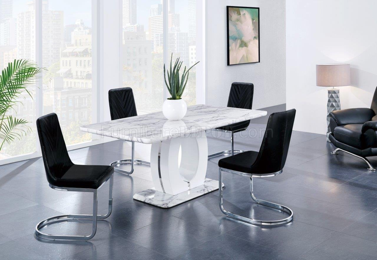 D894dt Dining Table In White By Global W Optional Black Chairs