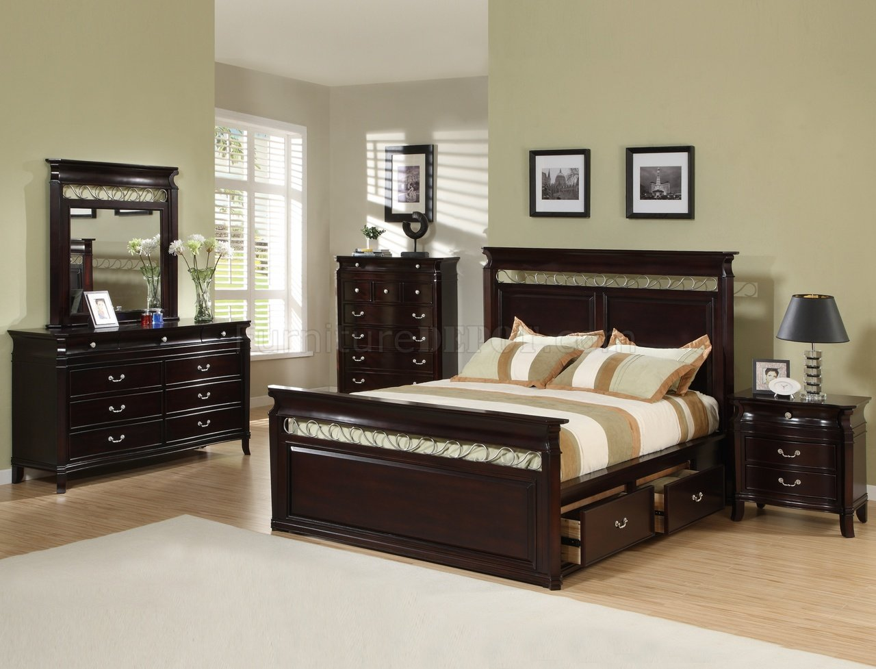 Dark Espresso Finish Contemporary Bedroom W/Storage Bed