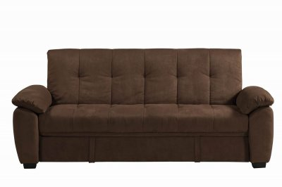 Chocolate padded suede modern sofa bed w storage for Duke sectional sofa bed w storage