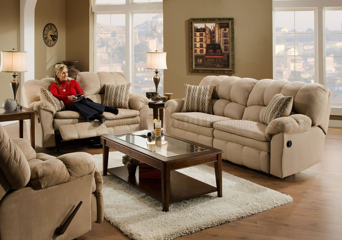Hazelnut Microfiber Reclining Sofa Loveseat W Pillow Arms