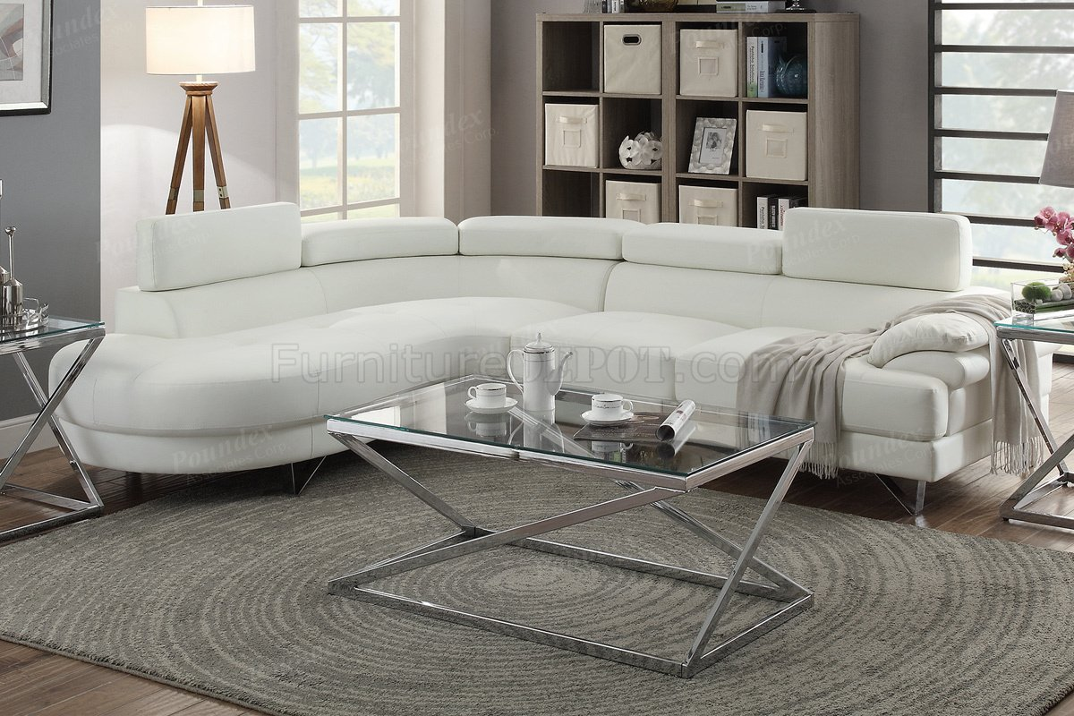 F6985 Sectional Sofa In White Faux Leather By Boss