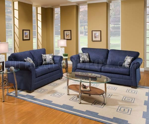 navy sofas living room limbo navy fabric modern sofa amp loveseat set w padded arms - Blue Living Room Set