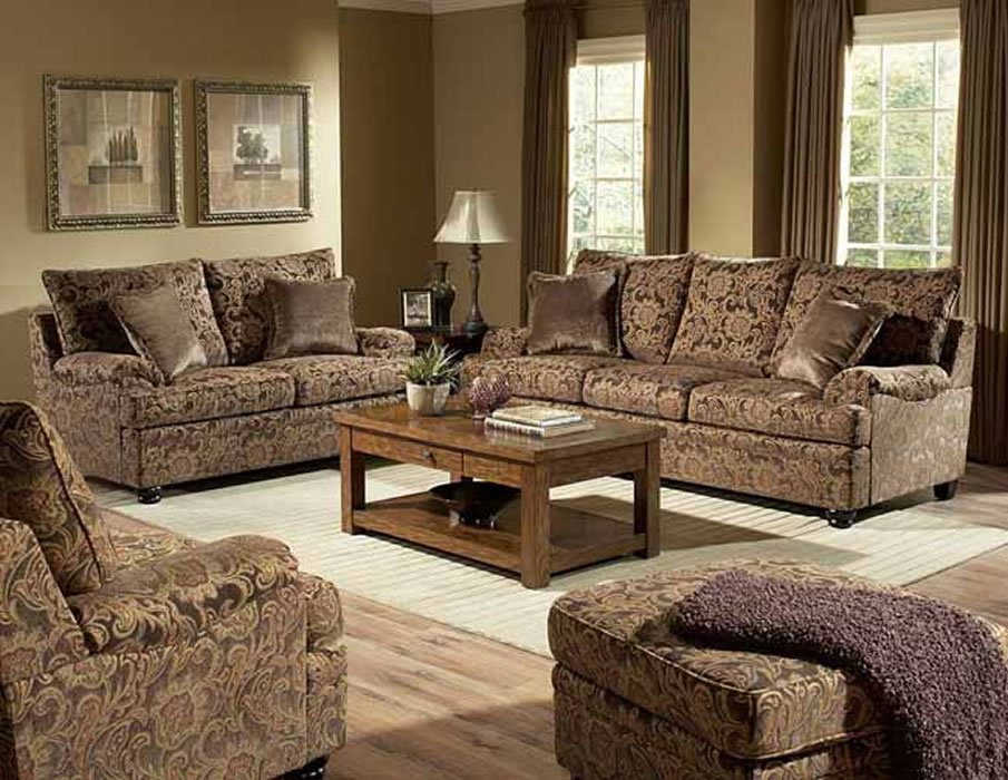 Rich Floral Chenille Traditional Living Room Sofa & Loveseat Set