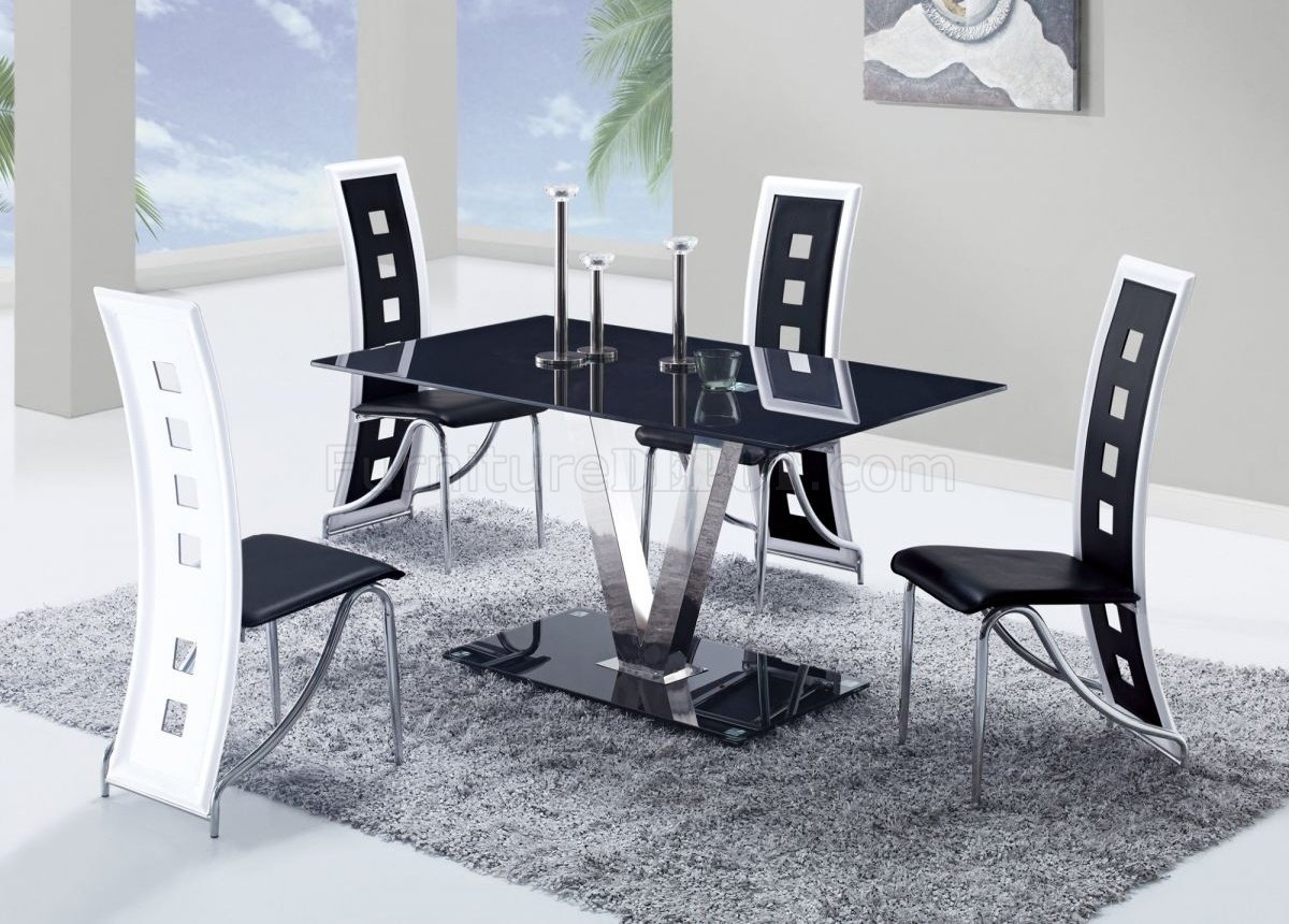 D551dt dining set 5pc w 803dc black white chairs by global for Black dining room furniture
