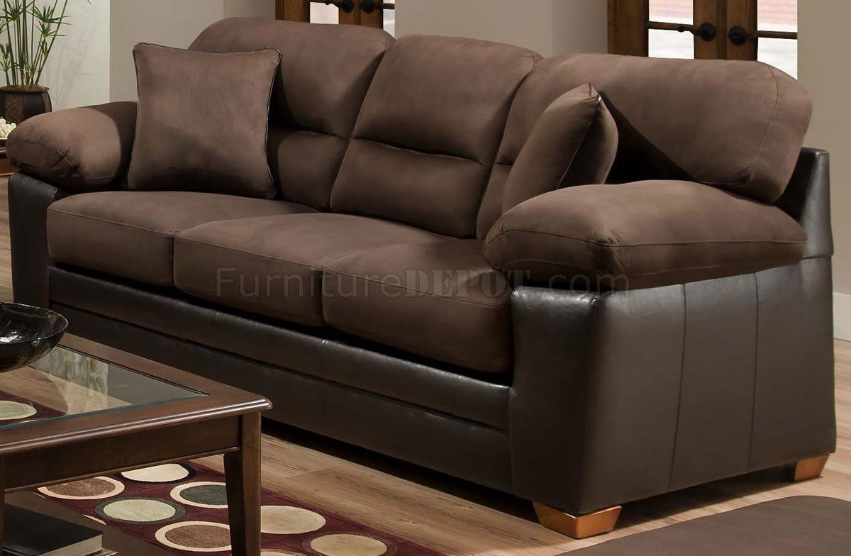 Brown godiva microfiber sofa loveseat set w accent pillows Brown microfiber couch and loveseat