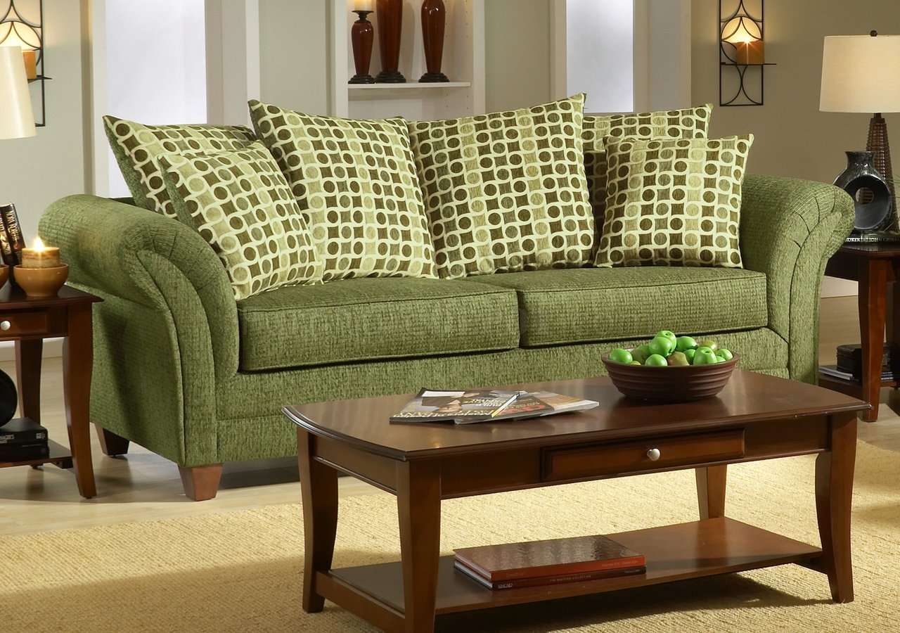 Forest green sofa and loveseat for Living room with green sofa