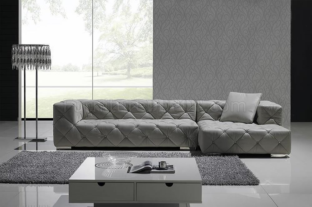 Grey full italian leather modern sectional sofa w crystals for Contemporary leather furniture