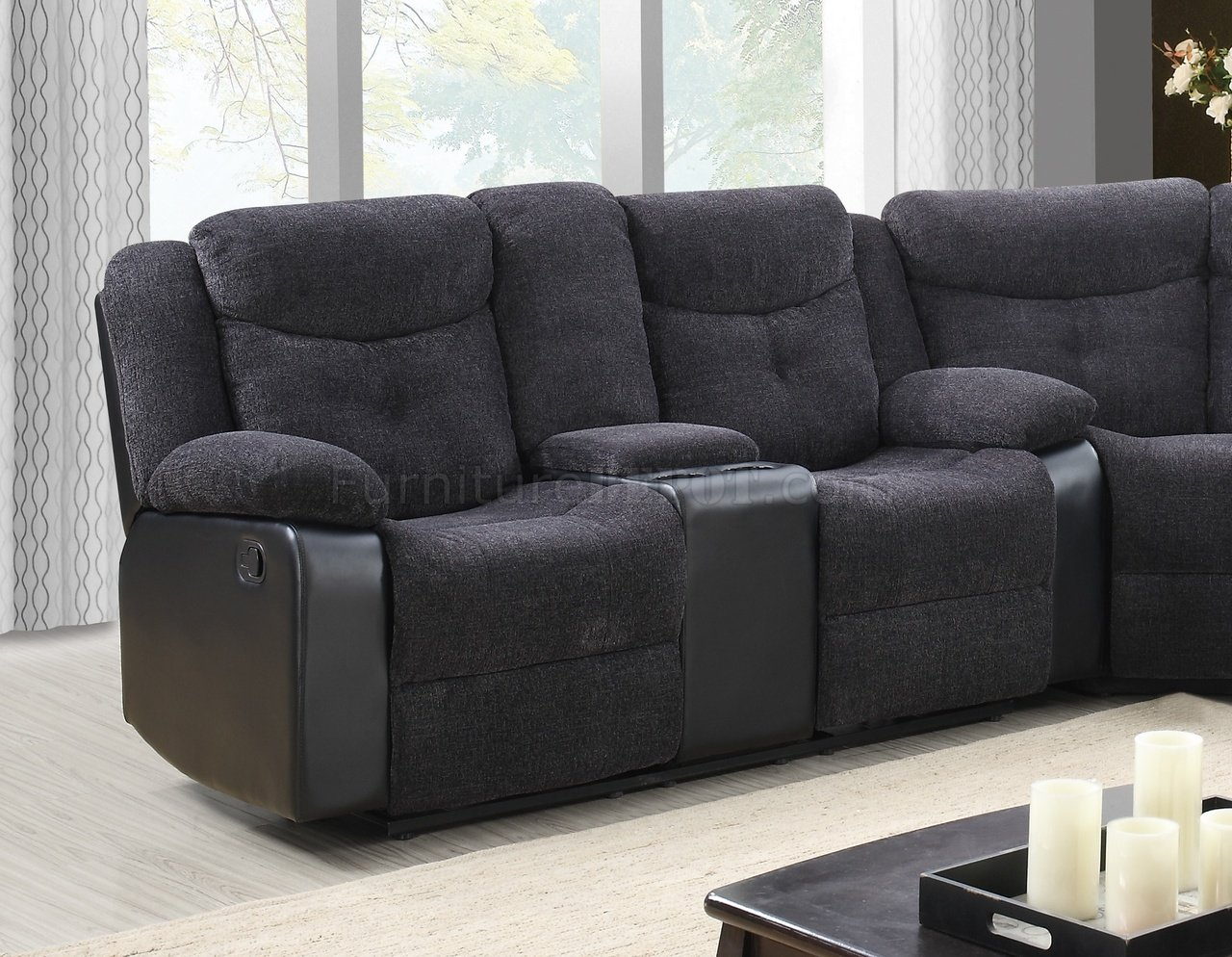 U1566 Motion Sectional Sofa Dark Grey Fabric Amp Black Pu