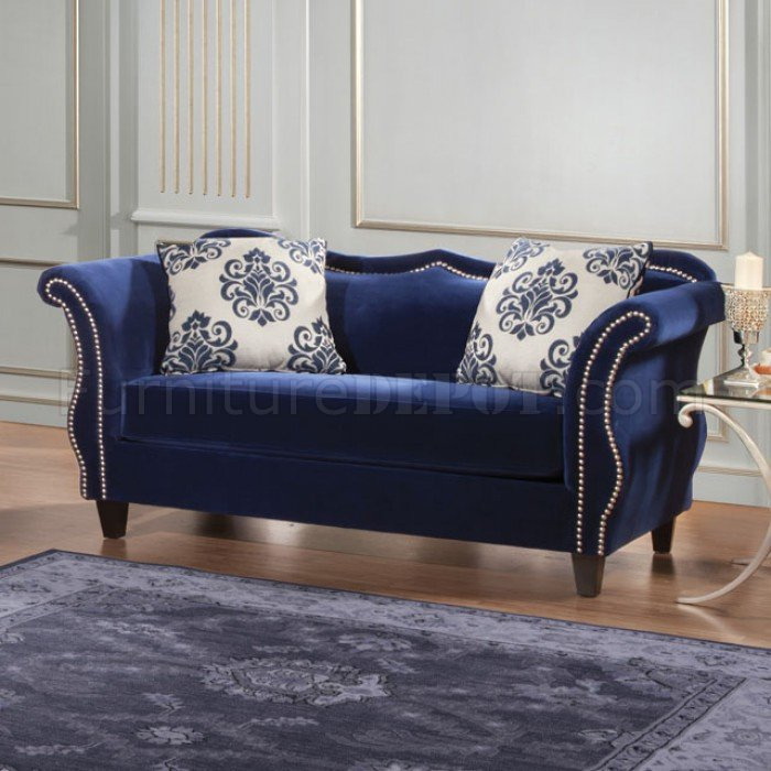 Zaffiro Sofa Sm2231 In Royal Blue Fabric W Options