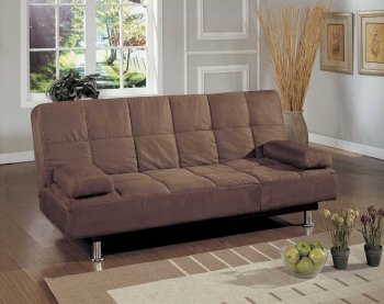Reviews Brown Microfiber Contemporary Sofa Bed Convertible Lounger