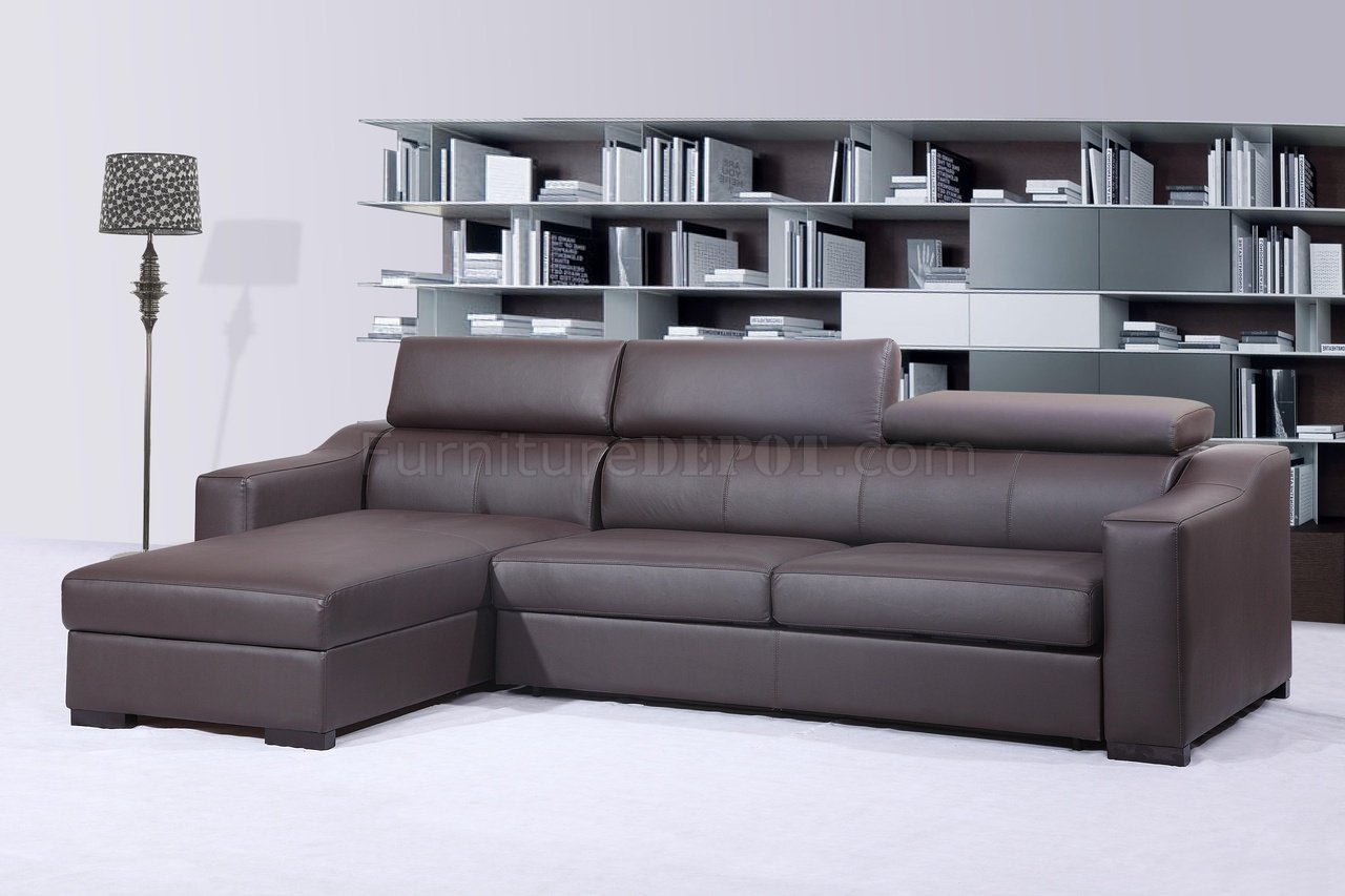 Ritz Sleeper Sectional Sofa Chocolate Brown Leather by J&M