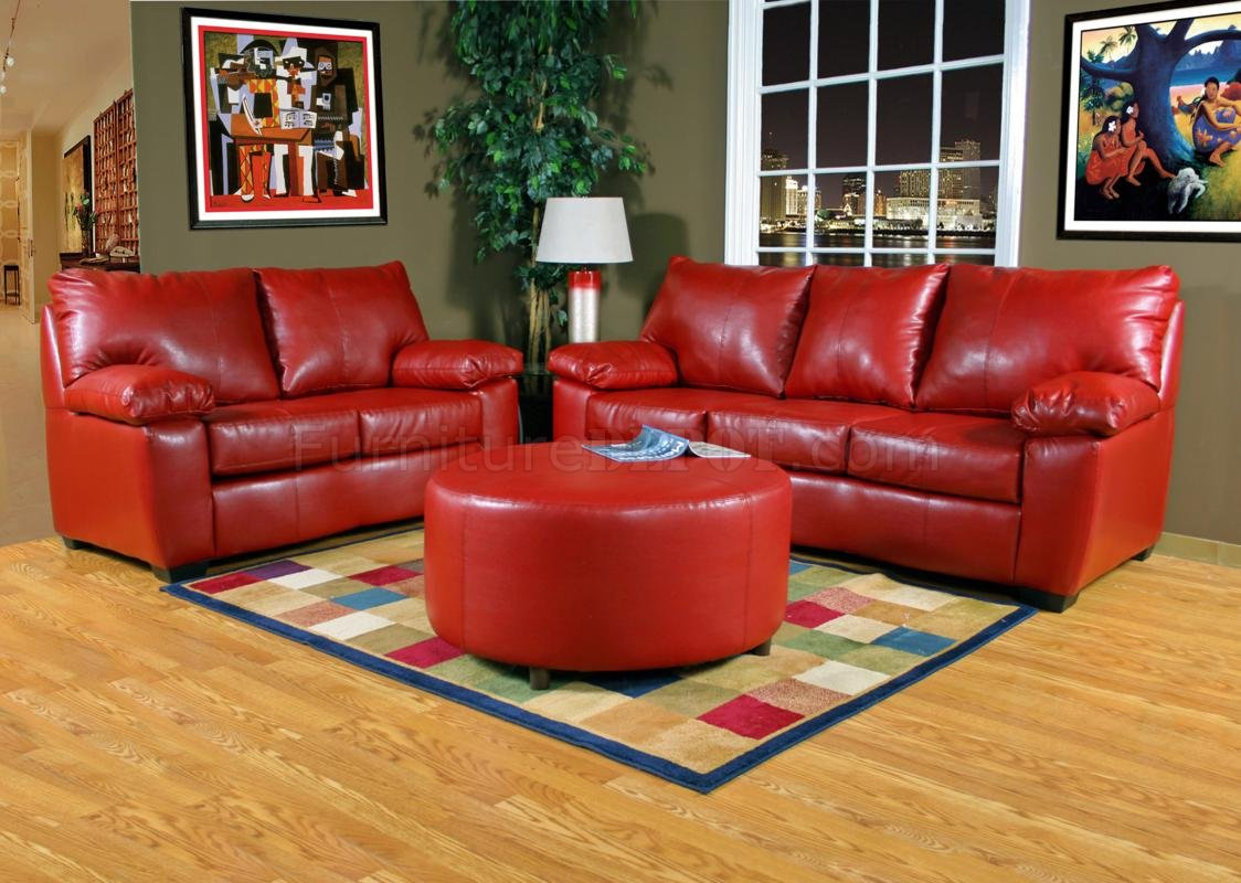 Red leather look fabric modern sofa loveseat set w options Red sofas and loveseats