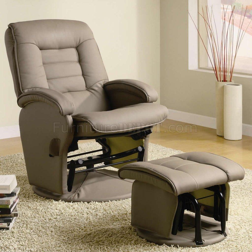 beige vinyl modern swivel glider recliner chair w ottoman
