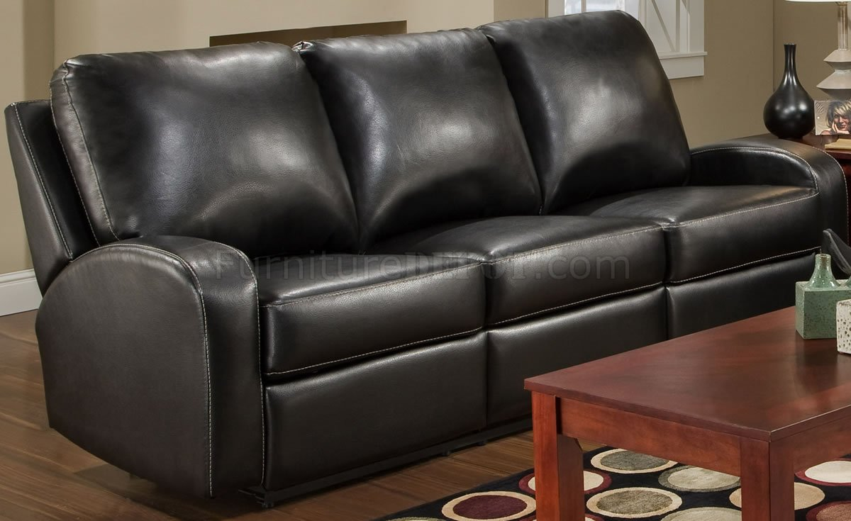 Black Bonded Leather Modern Double Reclining Sofa Loveseat Set
