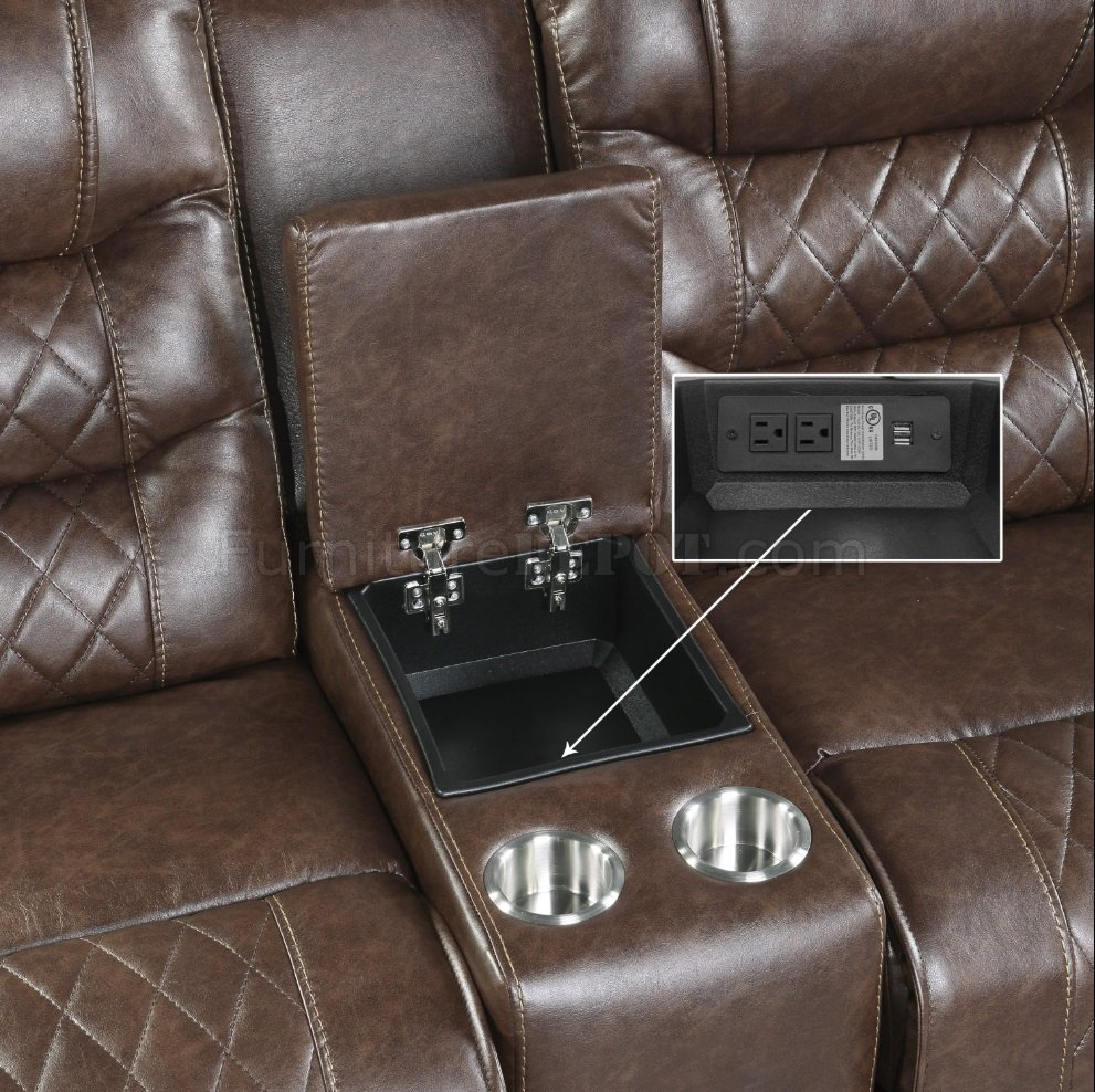 Putnam Recliner Sofa 9405br In Brown Fabric By Homelegance
