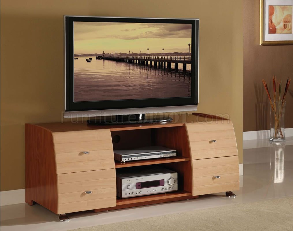Top Two-Tone Maple & Cherry Contemporary Tv Stand VB64
