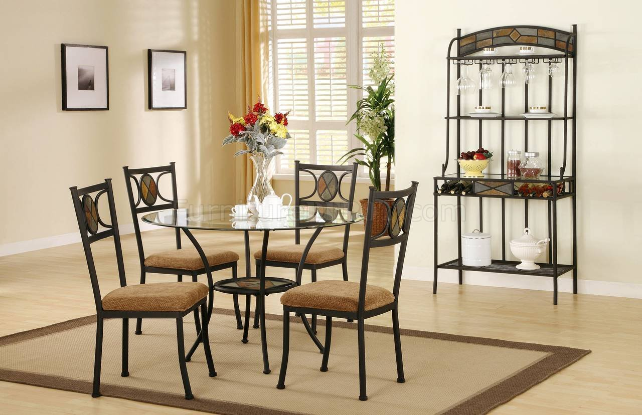 metal glass contemporary dinette wslate inlays p