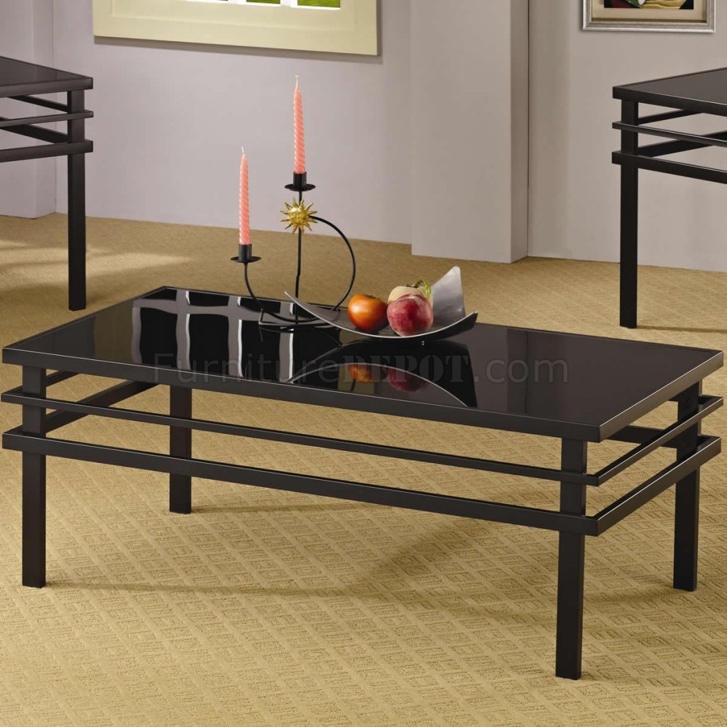 Black coffee table set - Black Metal Base Glass Top Modern 3pc Coffee Table Set