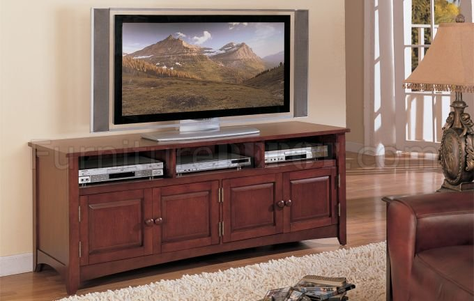 Cherry Finish Classic Plasma Or Lcd Tv Stand W Storage Cabinet