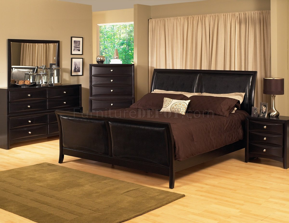 Espresso Finish Transitional Bedroom Set w Bicast Inserts