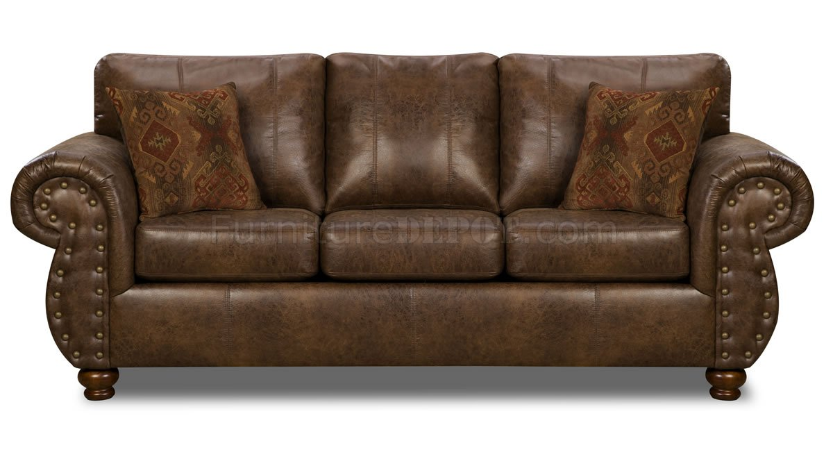 Brown smokey leather like microfiber classic sofa for Classic loveseat