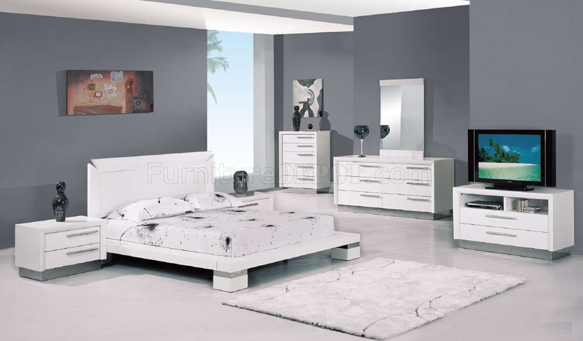 white high gloss finish modern platform bedroom set