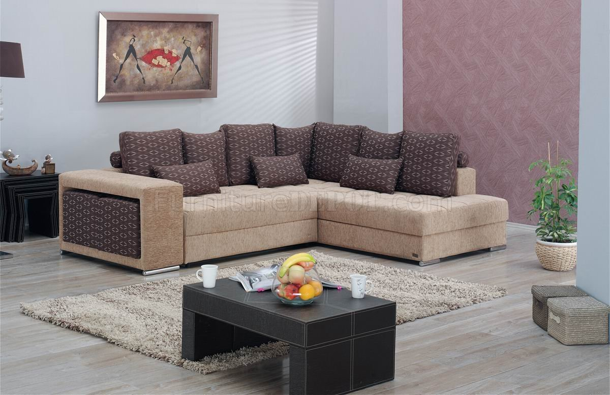 Two Tone Fabric Modern Convertible Sectional Sofa W Storage