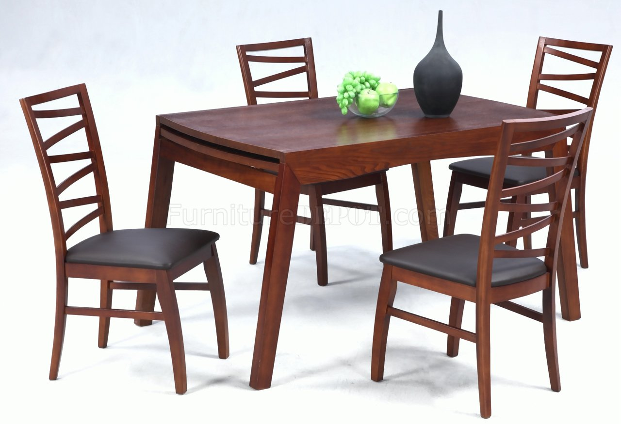 Dark Oak Finish Modern Dining Table W/Optional Chairs
