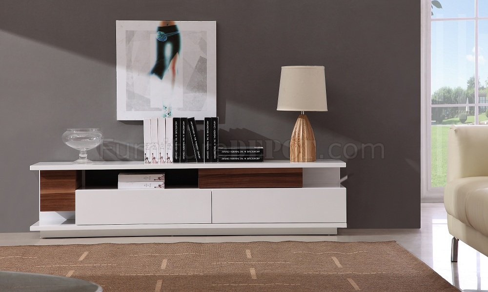 White Lacquer Finish Modern Tv Stand W Two Large Drawers