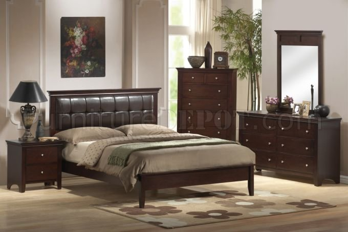 f brown modern bedroom w/faux leather headboard by poundex, Headboard designs