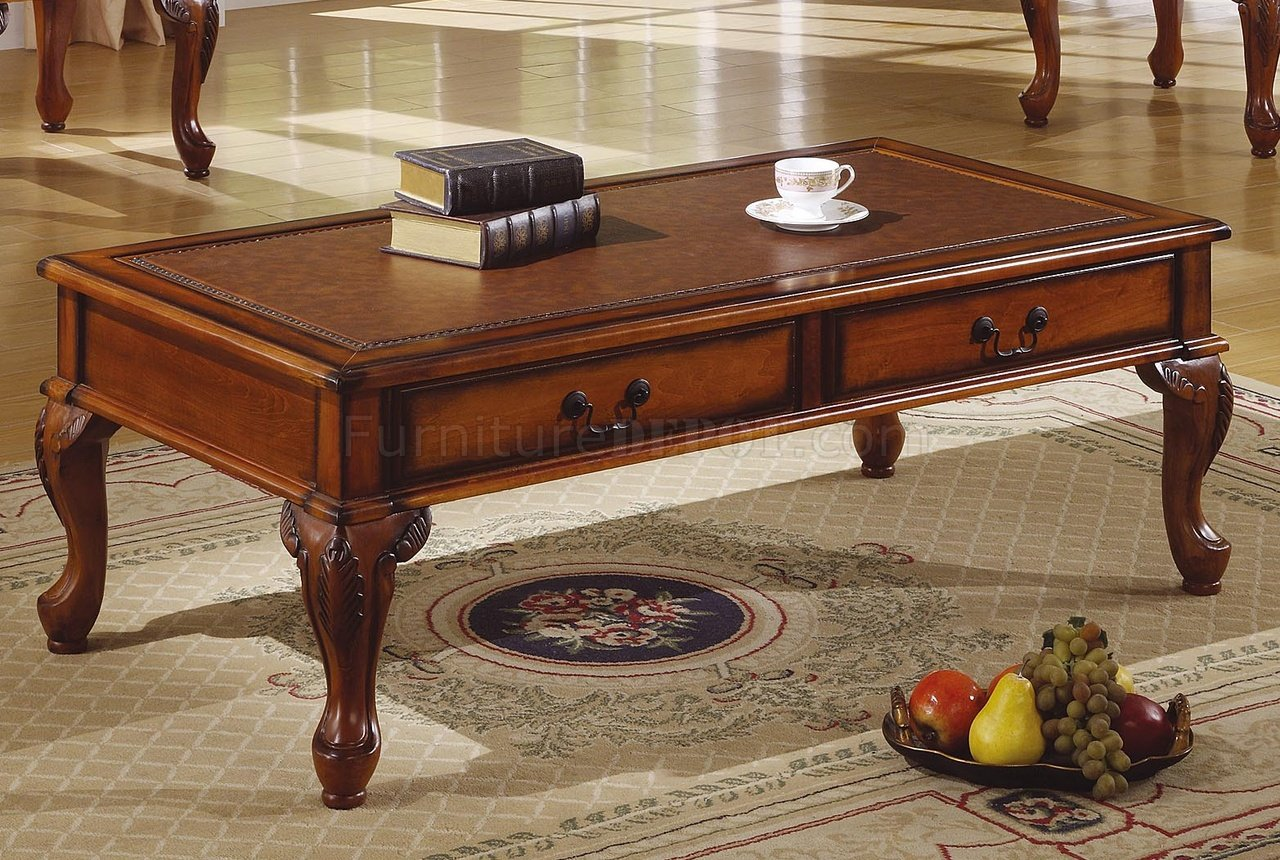 Walnut traditional 3pc coffee table w leather like antique top Traditional coffee table